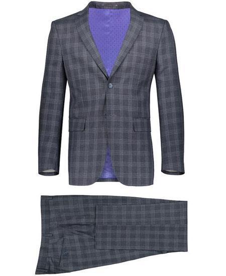 Mens 2 Button Gray Suit Window Pane ~ Plaid Suit ~ Blazer & Pants