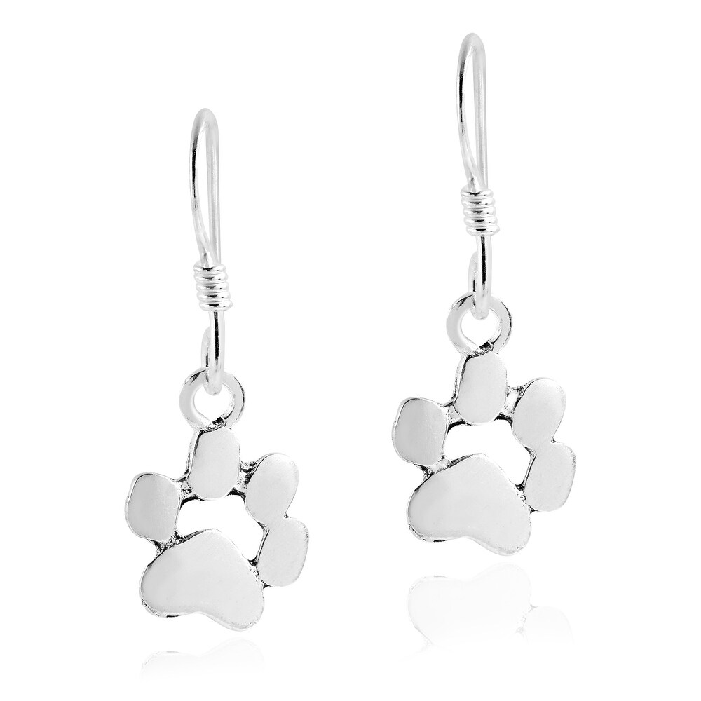 Handmade Charming Pet Paw Print .925 Sterling Silver Dangle Earrings (Thailand) (White)