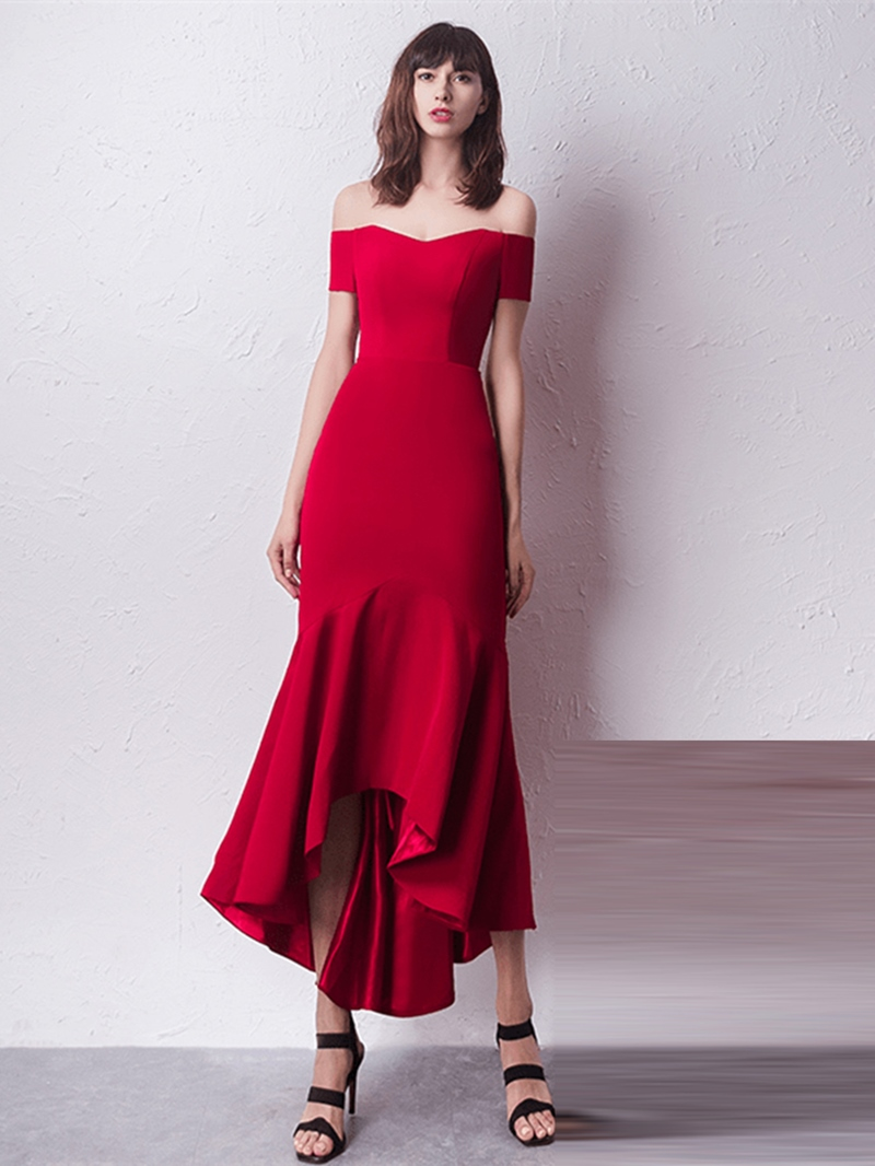 Ericdress Sheath Off The Shoulder Shoulder Asymmetry Evening Dress