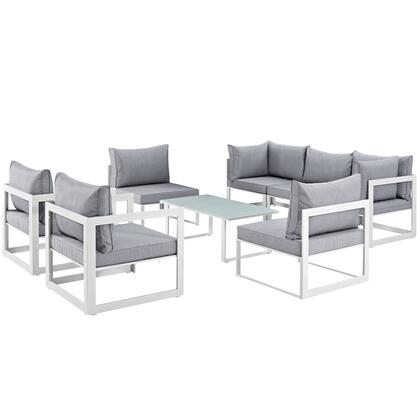Fortuna Collection EEI-1725-WHI-GRY-SET 8-Piece Patio Sectional Sofa Set with 2 Corner Sofa  5 Armless Chairs and Coffee Table in White and