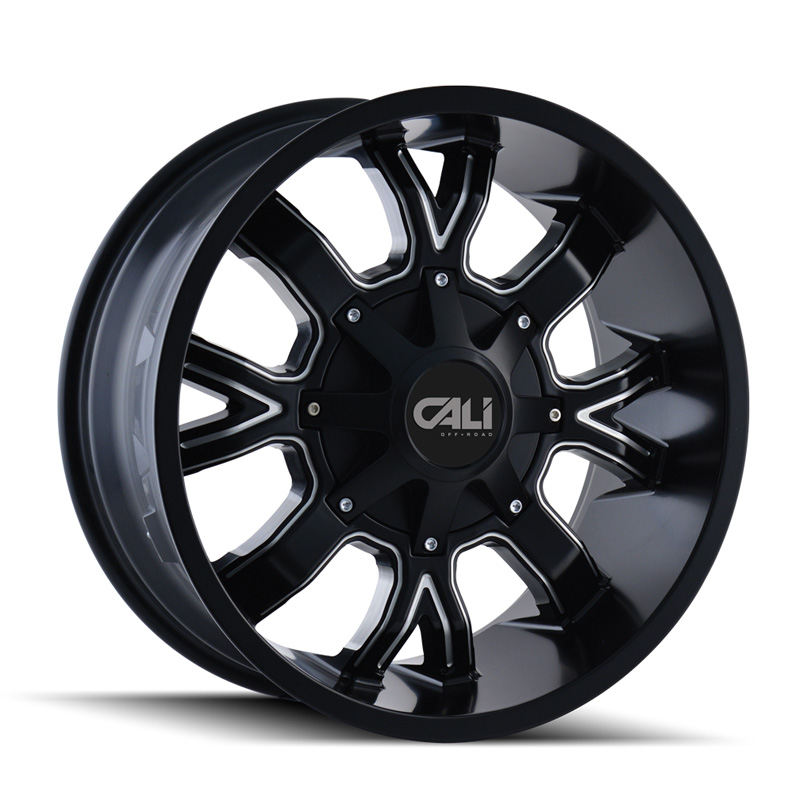 Cali Off-Road 9104-2152M Dirty 9104 Satin Black | Milled Spokes 20x10 5x127 | 5x139.7 -19mm 87mm Wheel