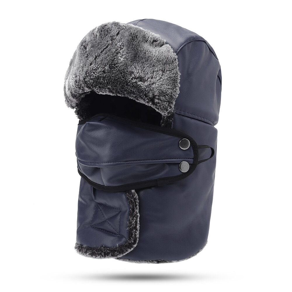 Mens Trapper Hat Skiing Windproof Thickening Full-protection Mask Face Warm Hat With Neck Flap