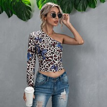 One Shoulder Leopard & Butterfly Print Top