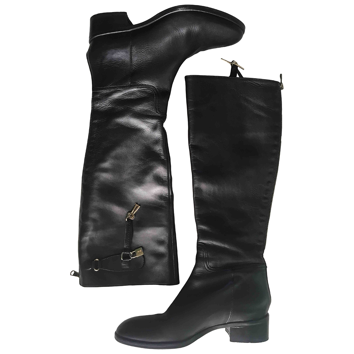 Non Signé / Unsigned \N Black Leather Boots for Women 36 IT