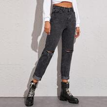 Dark Wash Ripped Tapered Jeans