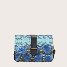 Snakeskin Print Flap Crossbody Bag