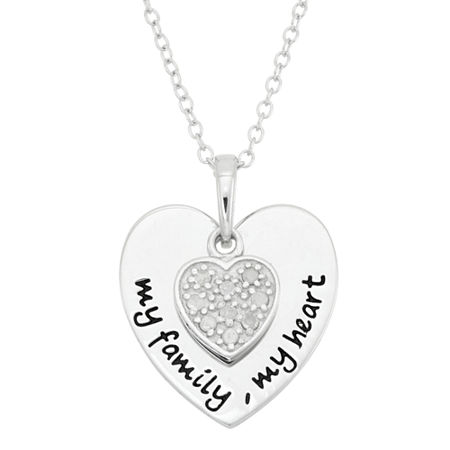 1/10 CT. T.W. Diamond My Family My Heart Sterling Silver Pendant Necklace, One Size , No Color Family