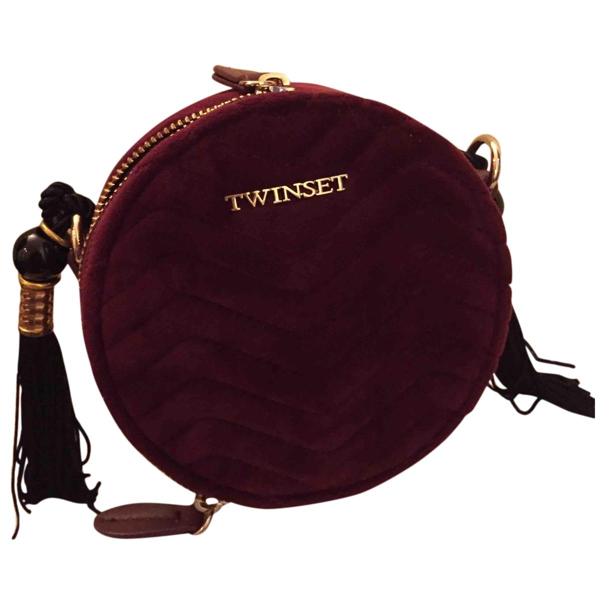 Twin Set - Pochette   pour femme en velours - bordeaux