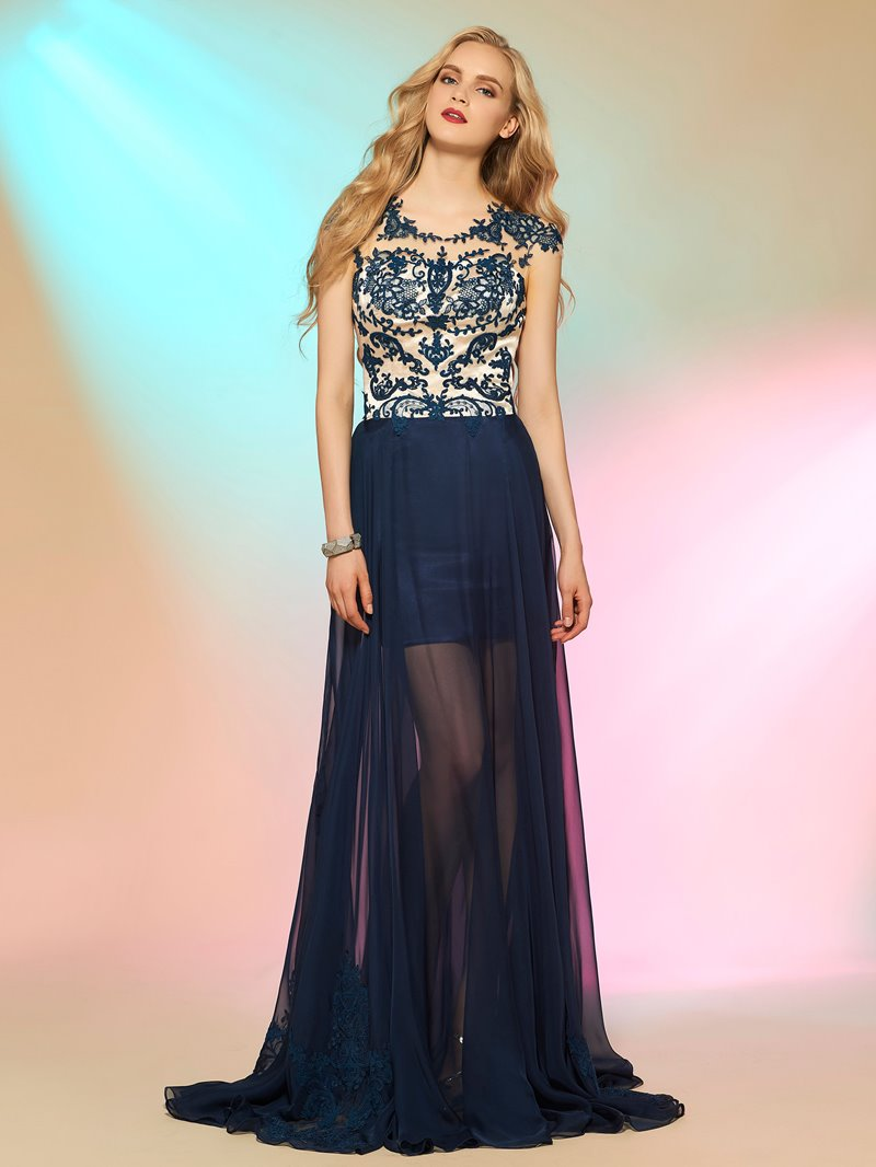 Ericdress Cap Sleeves Button Appliques Prom Dress