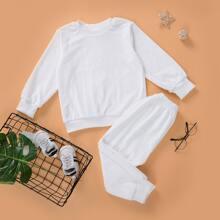 Outfits dos piezas para niña pequeña Liso Casual