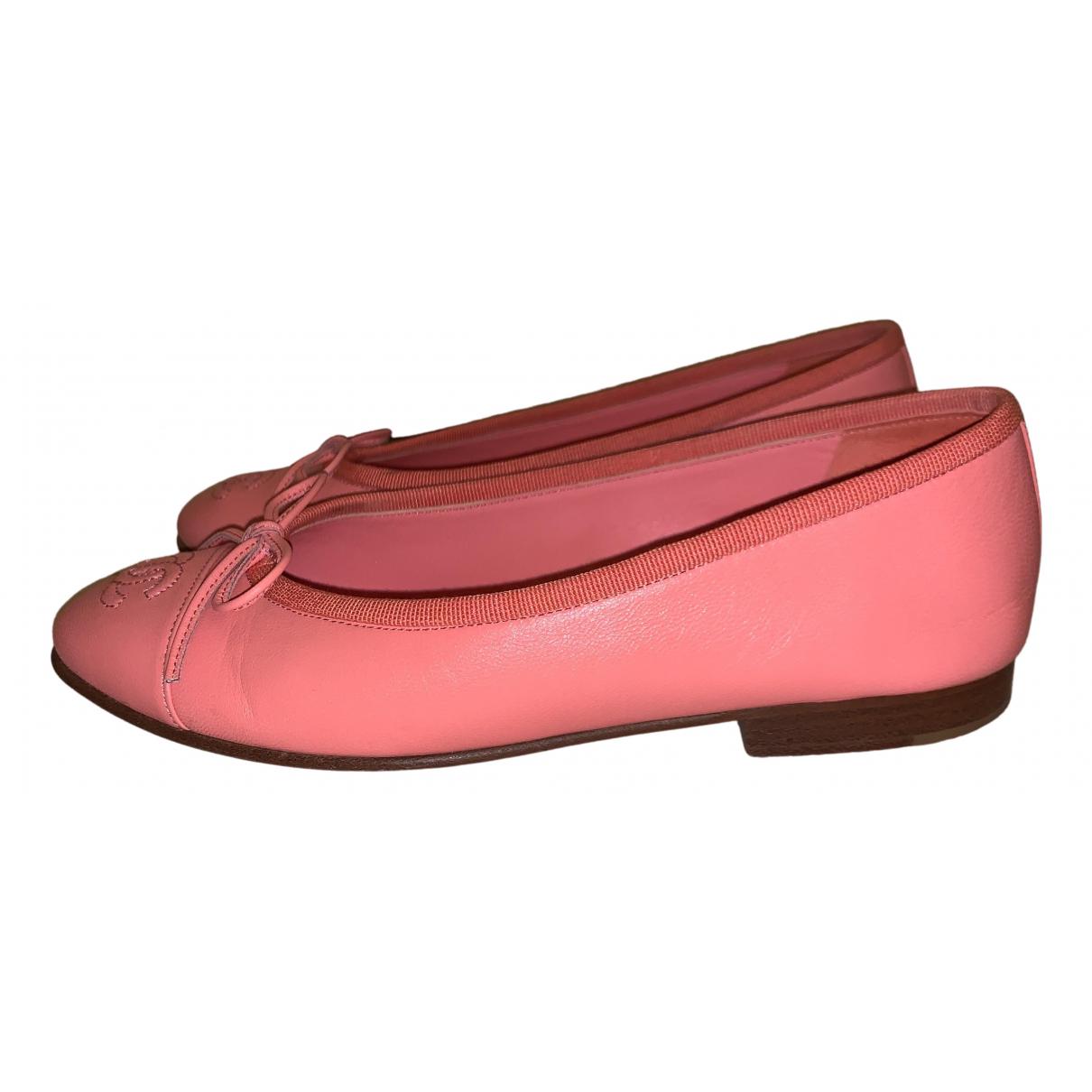 Chanel - Ballerines   pour femme en cuir - rose