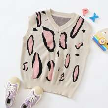 Girls V-neck Graphic Pattern Sweater Vest