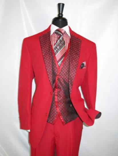 Men's Red Fire 2 Button Notch Lapel Vested Suit Jacket Pleated Pants