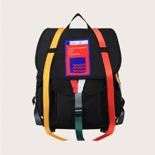 Men Letter Patch Flap Backpack