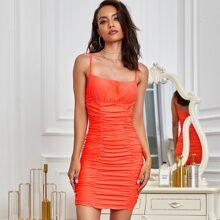 Eilly Bazar Neon Orange Ruched Dress