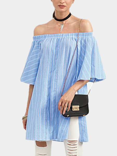 Yoins Off Shoulder Stripe Pattern Slit Blouse