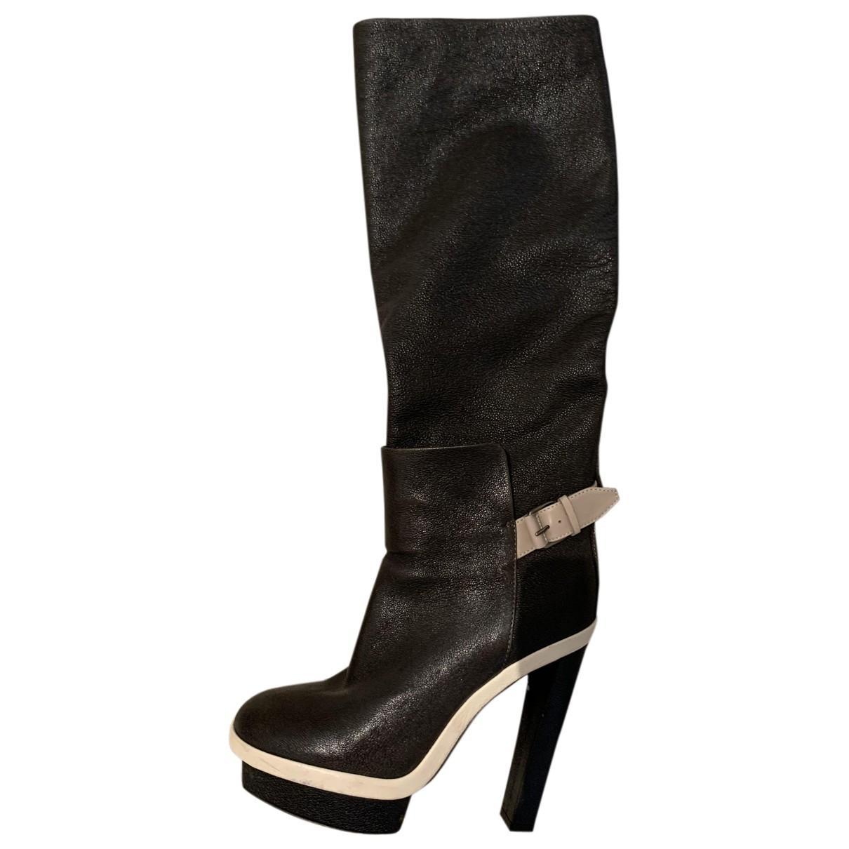 Balenciaga - Bottes   pour femme en cuir verni - anthracite