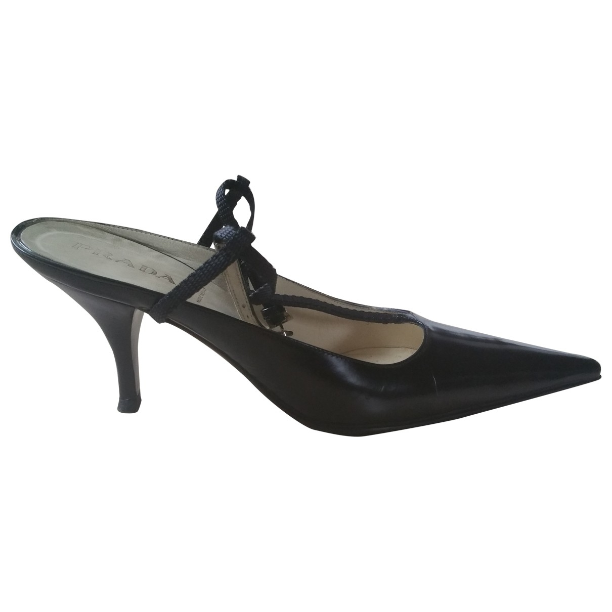 Prada \N Black Leather Heels for Women 38.5 EU