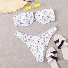 Bikini Badeanzug mit Blumen Muster und V Ausschnitt