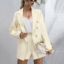 Double-breasted Ticket Pocket Blazer