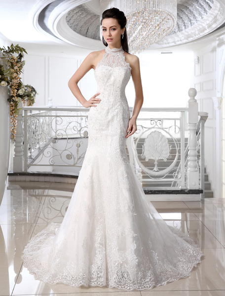 Milanoo Mermaid Wedding Dresses Ivory Halter Bridal Gown Lace Applique Beaded Bridal Dress With Train