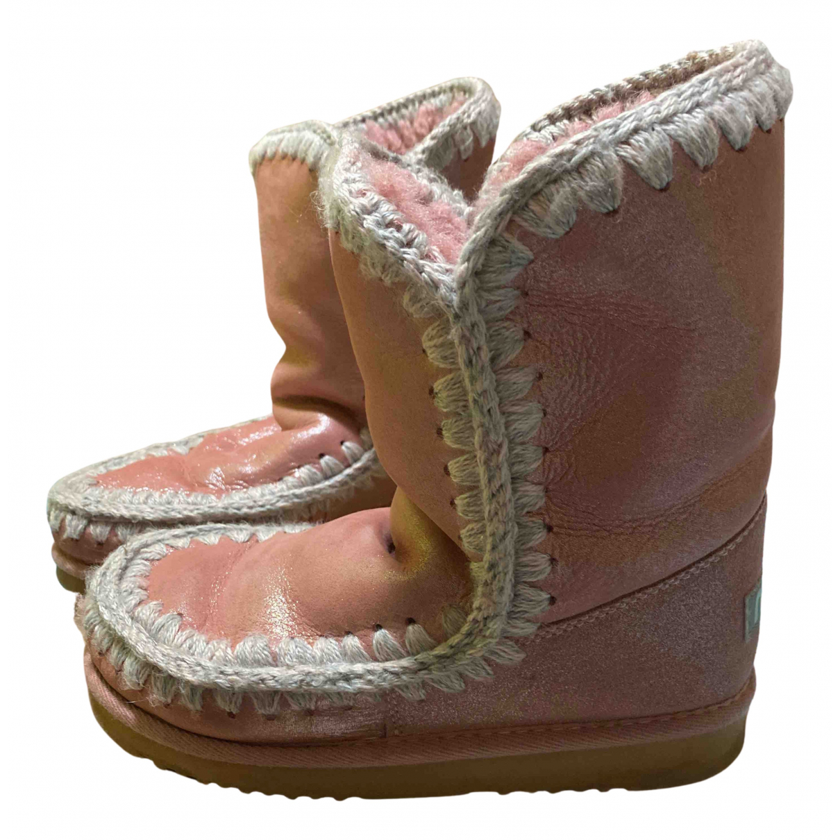 Mou N Pink Leather Boots for Women 38 EU