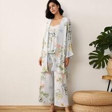 Cami Schlafanzug Set mit Pflanzen Muster & Robe