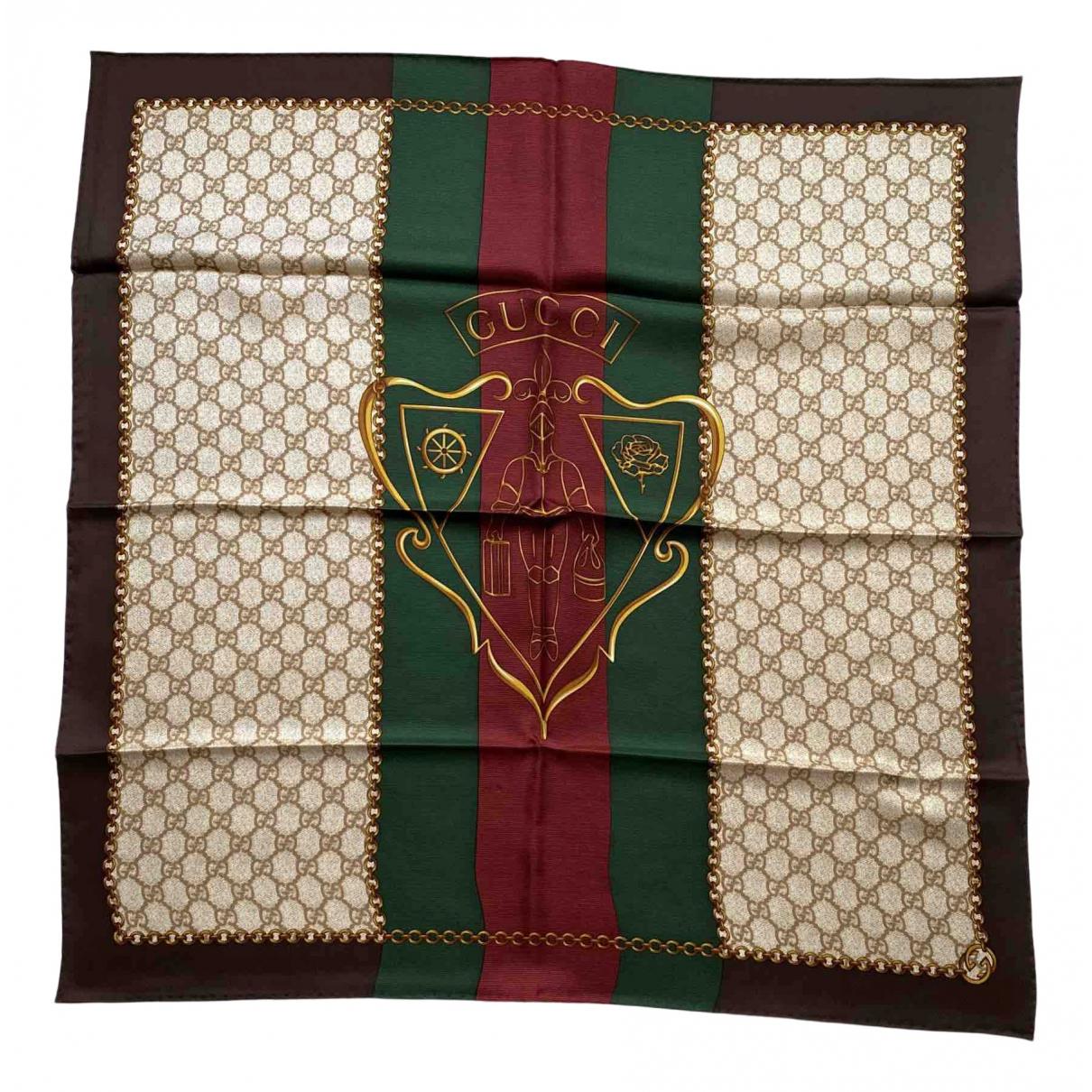 Gucci - Foulard   pour femme en soie - marron