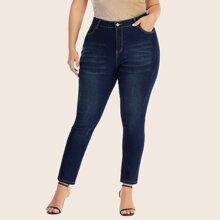 Ubergrosse Schmale Jeans mit Rissen