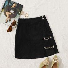 Chain Detail Asymmetrical Hem Cord Skirt