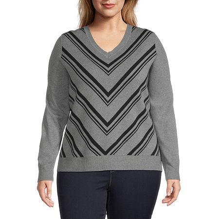 Liz Claiborne Chevron Pullover Sweater - Plus, 4x , Gray