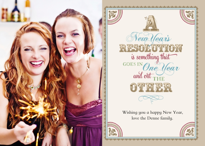 New Years 5x7 Cards, Premium Cardstock 120lb with Elegant Corners, Card & Stationery -Witty New Year