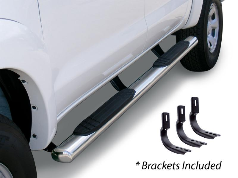 Go Rhino 684435187PS 4 OE Xtreme SideSteps Kit - 87 Long Stainless + Mounting Brackets Nissan Titan 2004-2015