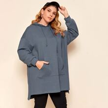 Plus Pocket Front Stepped Hem Longline Hoodie