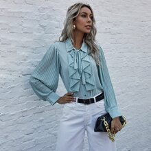 Tie Neck Pleated Ruffle Front Blouse