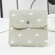 Swan Print Sanitary Napkin Storage Bag