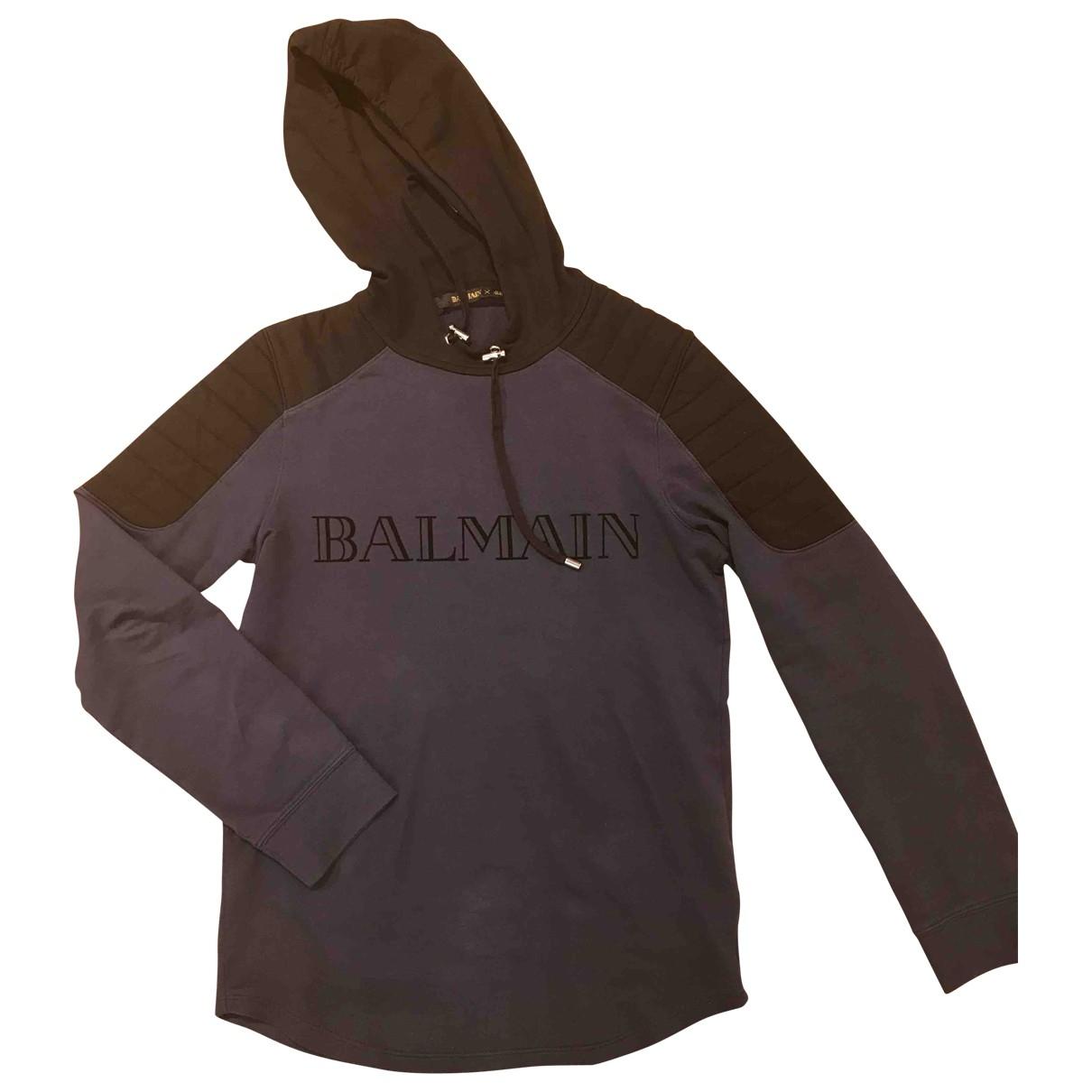 Balmain For H&m \N Pullover.Westen.Sweatshirts  in  Marine Baumwolle