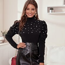 Mock-neck Pearl Beaded Leg-of-mutton Sleeve Top