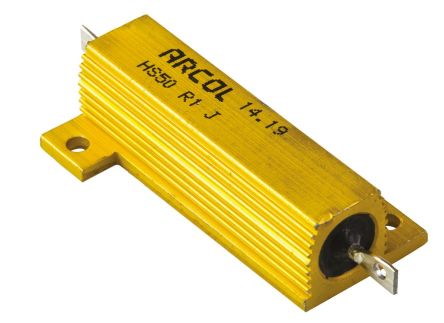 Arcol HS50 Series Aluminium Housed Axial Wire Wound Panel Mount Resistor, 100mΩ ±5% 50W