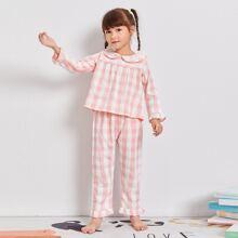 Schlafanzug Set mit Kontrast Spitze, Puppe Kragen und Karo Muster