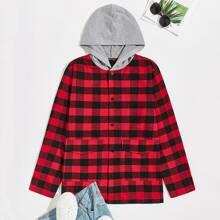Mantel mit einreihiger Knopfleiste, Taschen Klappen vorn, Karo Muster und Kapuze