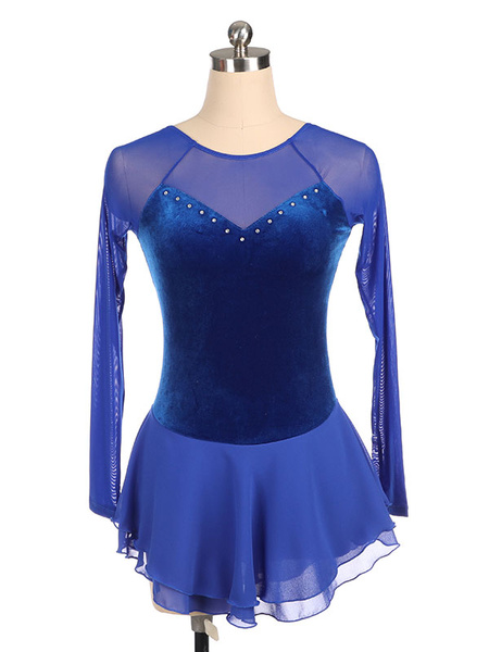 Milanoo Vestido de patinaje azul de terciopelo coreano trajes de baile de manga larga