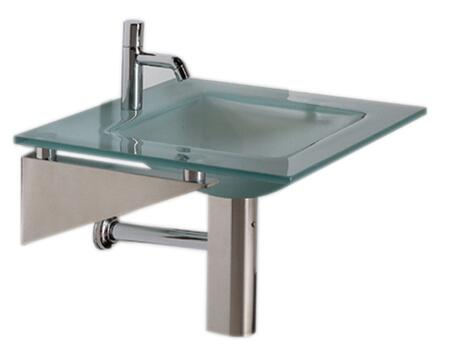 WHLOOM-I New Generation Square 1/2 Matte Glass Counter Top With Integrated Square Basin - Polished Stainless Steel Angular Wall Mount Supports
