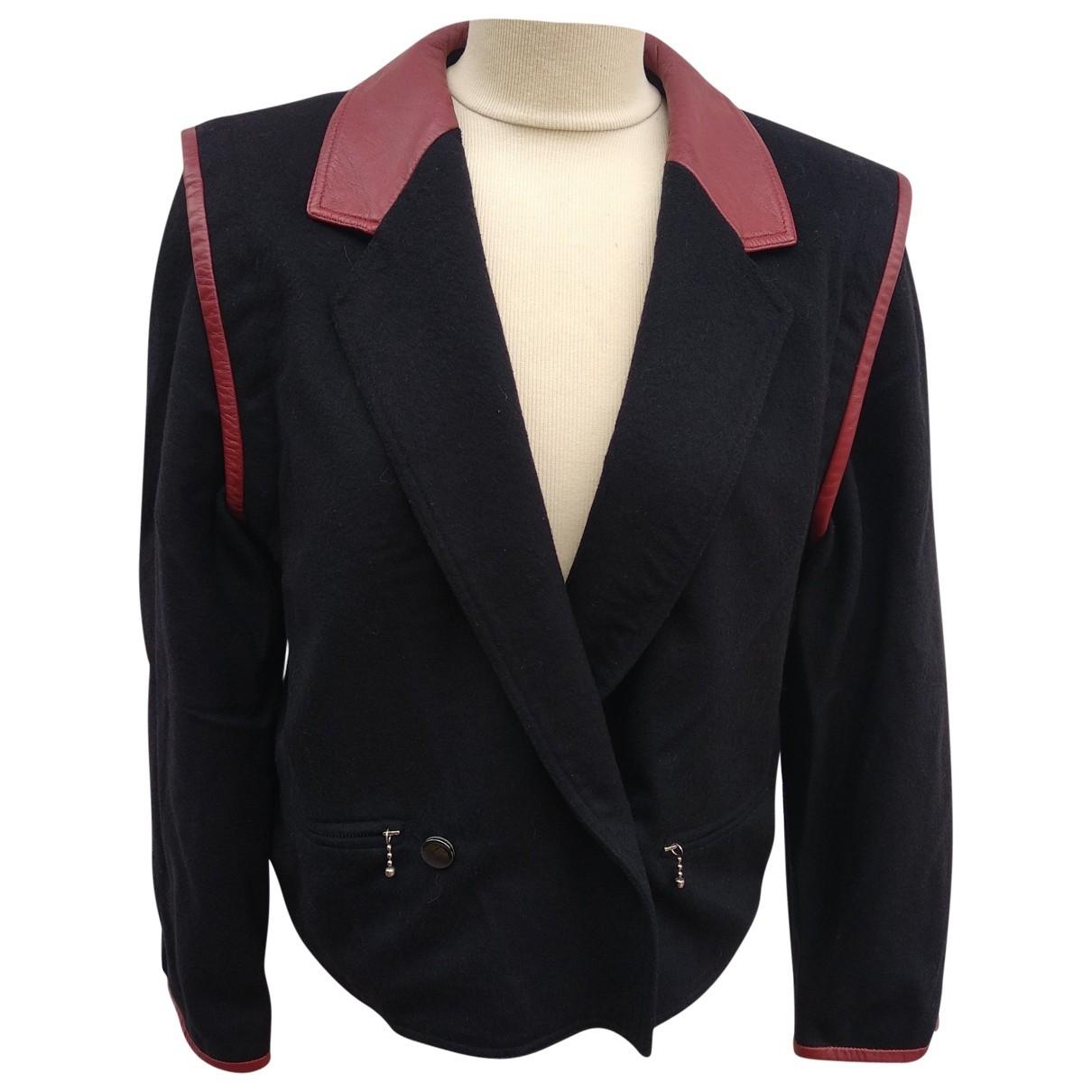 Non Signé / Unsigned Epaulettes Black Wool jacket for Women 42 FR