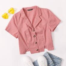 Bluse mit eingekerbtem Kragen, Knopfen und Karo Muster
