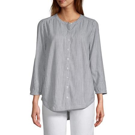 St. Johns Bay Womens Button Front 3/4 Sleeve Blouse, Petite Medium , Blue
