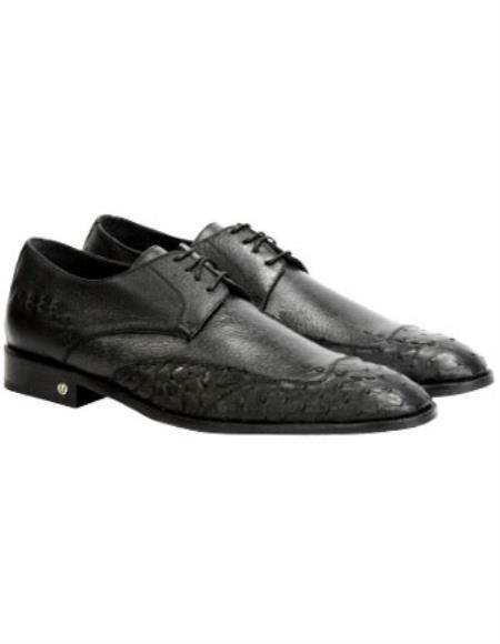 Mens Handmade Full Leather Black Vestigium Genuine Ostrich Derby Shoes