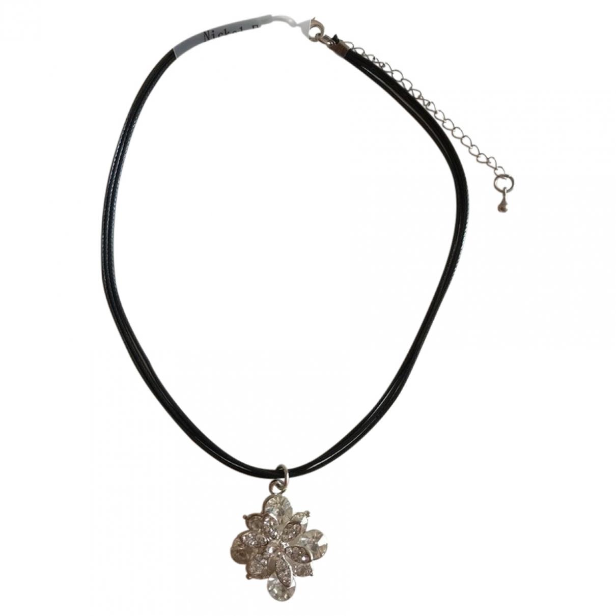 - Collier Motifs Floraux pour femme en cuir - noir