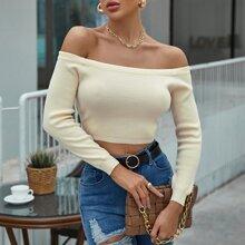Off Shoulder Crop Sweater