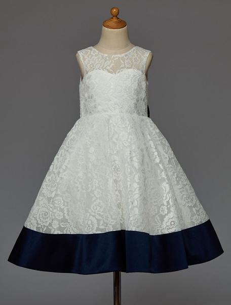 Milanoo Vestido de damitas de encaje con escote en corazon y lazo